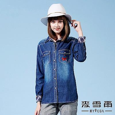 【麥雪爾】純棉刺繡圖騰休閒牛仔襯衫