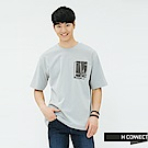 H:CONNECT 韓國品牌 男裝-重疊圖像標語T-shirt-藍