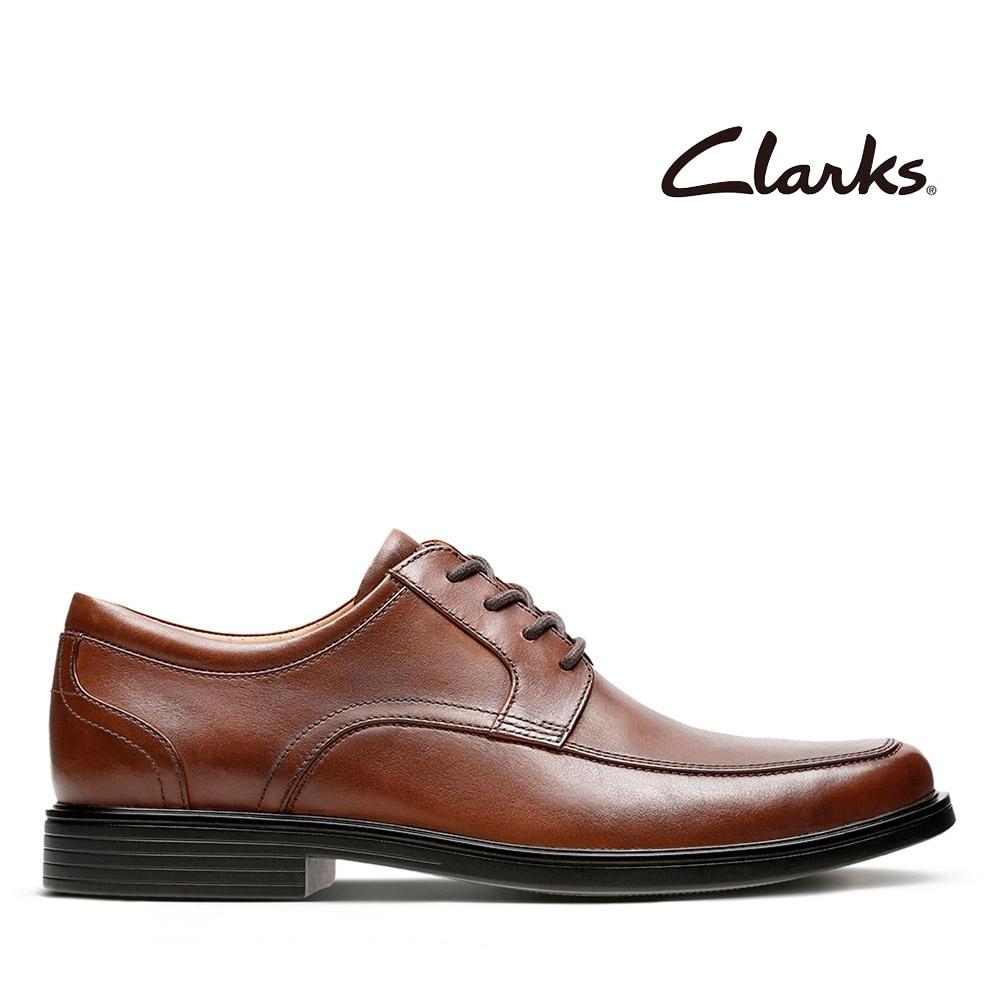 Clarks UN 全真皮經典男士正裝紳士鞋 棕褐色