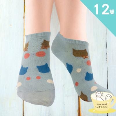情侶貓-買10送2-少女緹花船形襪(高級200針)LM954