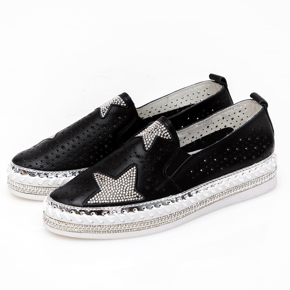 Camille's 韓國空運-正韓製-星星沖孔鑽石厚底懶人鞋-黑色