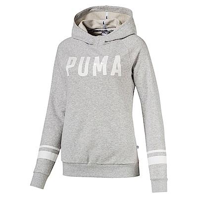 PUMA-女性基本系列Athletic長厚連帽T恤-淺麻花灰-亞規