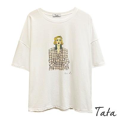 插畫人像印花T恤上衣 共二色 TATA
