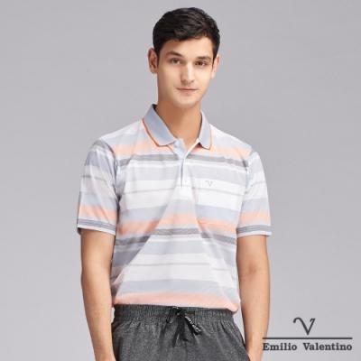 Emilio Valentino范倫鐵諾時尚雅痞橫紋POLO衫_灰/橘(66-V3105)