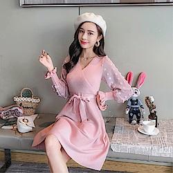 DABI 韓國風蝴蝶結拼接泡泡袖針織長袖洋裝