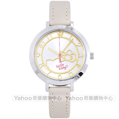 HelloKitty 凱蒂貓簡約時尚皮革手錶-銀X卡其/34mm
