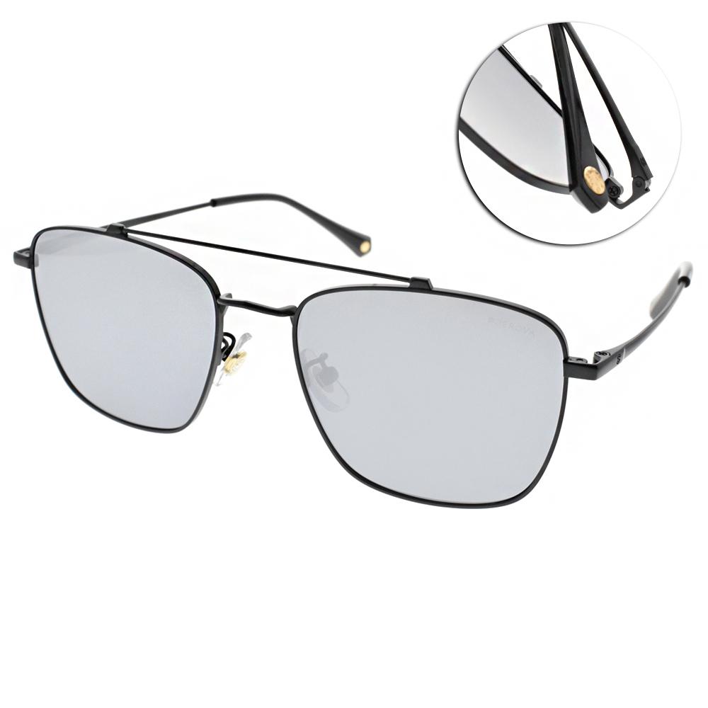 SEROVA偏光太陽眼鏡 流行百搭款/黑-淡水銀 #SS9033 C16