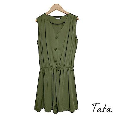 V領排扣無袖連身短褲 共二色 TATA