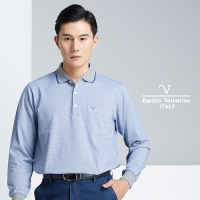 Emilio Valentino 休閒風細格紋POLO衫_藍(66-8V1153)