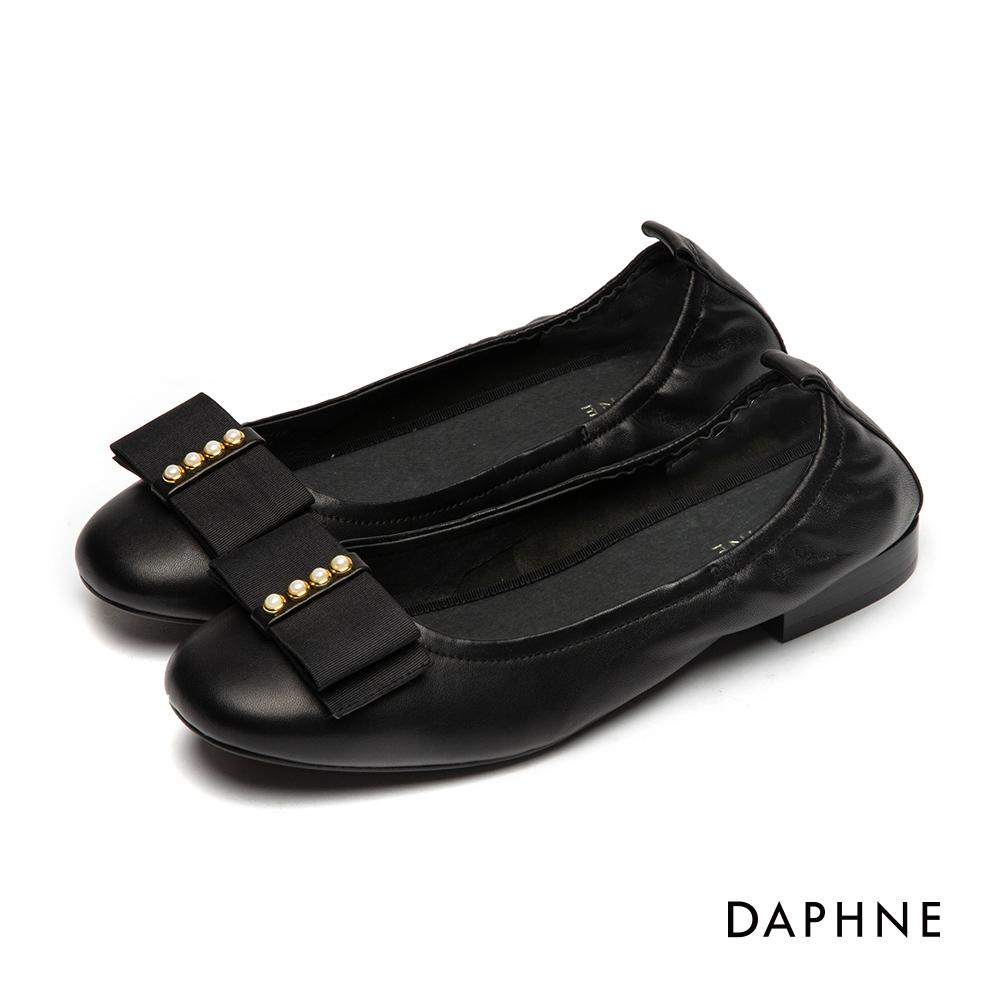 達芙妮DAPHNE 娃娃鞋-質感真皮珍珠蝴蝶娃娃鞋-黑