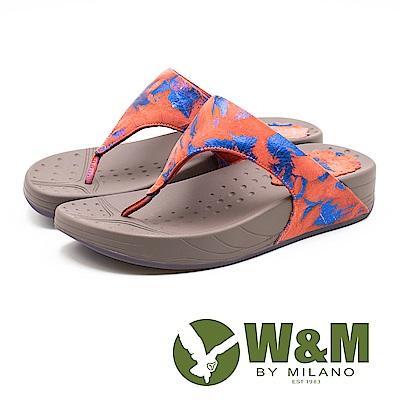 W&M 撞色潑墨厚底夾腳拖鞋 女鞋 - 紅(另有藍)