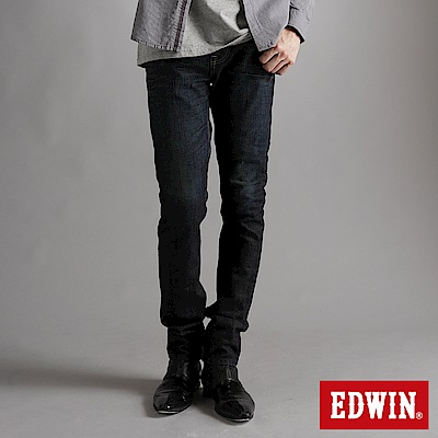 【EDWIN】大尺碼 EDGE雙口袋窄直筒褲-男款(原藍磨)