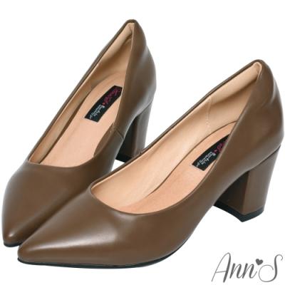 Ann'S加上優雅高跟版-復古皮革沙發後跟尖頭鞋-卡其