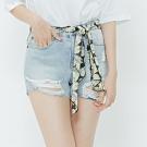 H:CONNECT 韓國品牌 女裝-印花腰帶破損牛仔短褲-藍