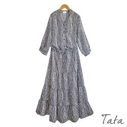 直紋綁帶長洋裝 TATA-F