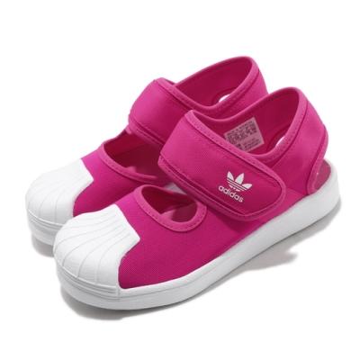 adidas 涼鞋 Superstar 360 Sandal 童鞋 愛迪達 三葉草 魔鬼氈 貝殼頭 穿搭 粉 白 FV7585
