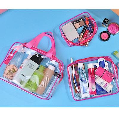 iSFun 透視防水 PVC化妝衣服盥洗收納包3件組 2色可選