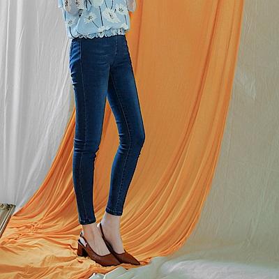腰鬆緊彈性修身窄管牛仔褲-OB大尺碼