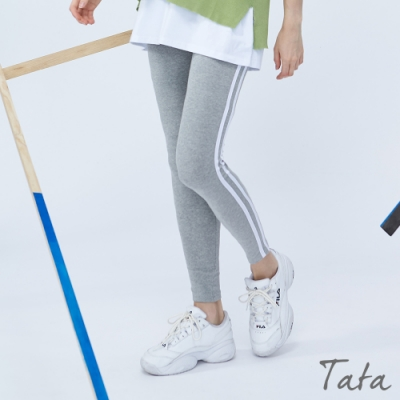 側雙槓彈力運動褲 共二色 TATA-(S~L)
