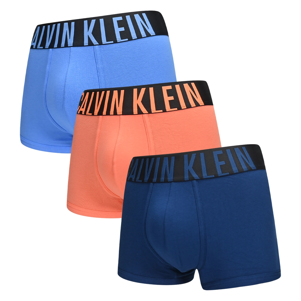 Calvin Klein Intense Power 男內褲 高彈性棉質寬版腰帶 短版合身四角褲/CK內褲-藍、橘、深藍 三入組