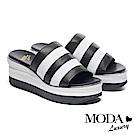 拖鞋 MODA Luxury 百搭俐落撞色異材質楔型厚底拖鞋-黑