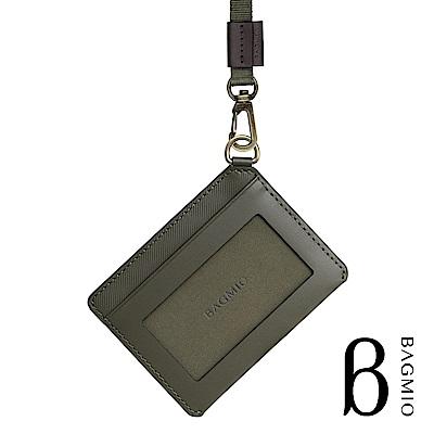 BAGMIO vigor 牛皮橫式雙卡證件套 橄欖綠 附織帶