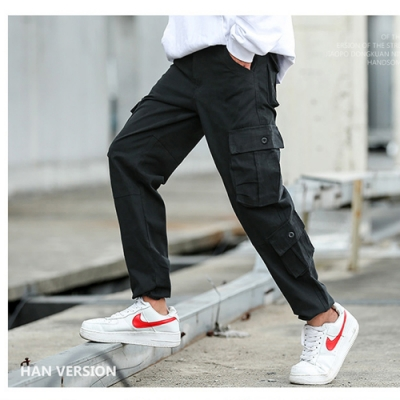 【KISSDIAMOND】美式街頭舒適透氣八口袋耐磨工作褲(簡約/百搭/秋季/休閒褲)