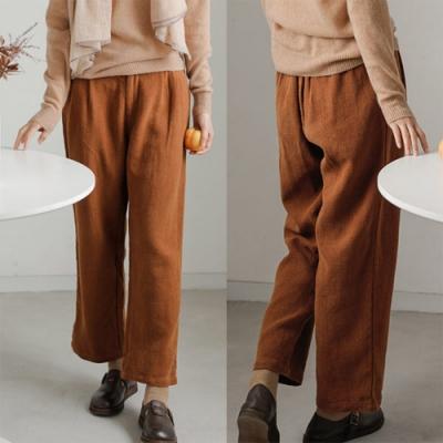 休閒褲-亞麻寬鬆棉麻寬管長褲-設計所在