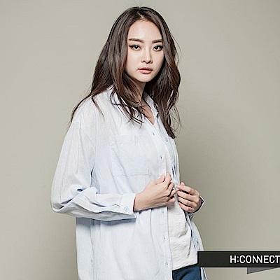H:CONNECT 韓國品牌  女裝 - 純色條紋長版襯衫-藍(快)