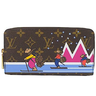 LV M63379 小熊滑雪經典花紋ㄇ字拉鍊長夾