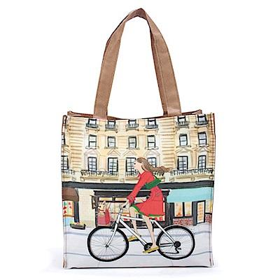 Reiko Aoki青木禮子Girl-bike彩繪手提包-咖啡色