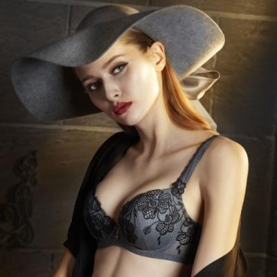 莎露-時尚女王 C-E罩杯內衣(時尚灰) 施華洛世奇小花-渾圓胸型-時尚奢華