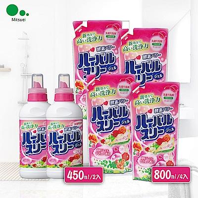 日本Mitsuei美淨易玫瑰花香酵素洗衣精2+4組合 (450g*2+800g*4)