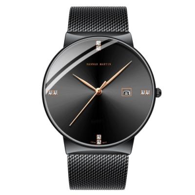 HANNAH MARTIN 精璽御品鑲鑽刻度設計米蘭帶男錶-金色指針/40mm