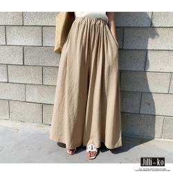 JILLI-KO 韓版棉麻感純色大擺闊腿褲- 杏/綠