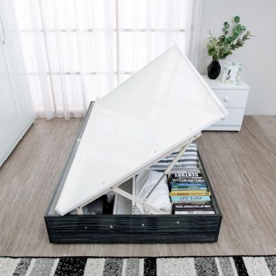 Birdie南亞塑鋼-3.5尺單人側掀收納型塑鋼床底(不含床頭片及床墊)(鐵刀木色)