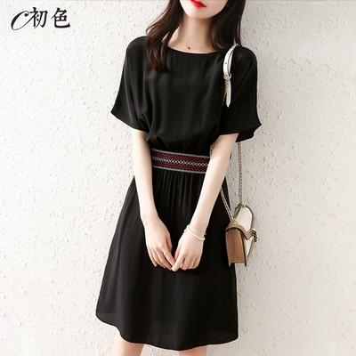 初色  輕奢簡約收腰洋裝-黑色-(M-2XL可選)