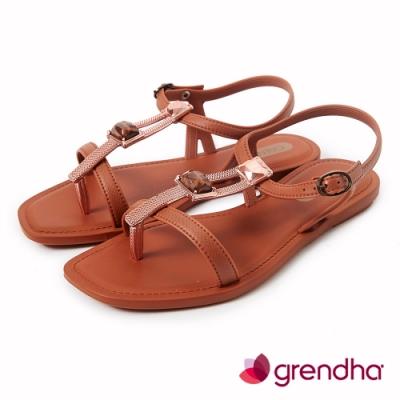 Grendha 時尚女王寶石涼鞋-焦糖