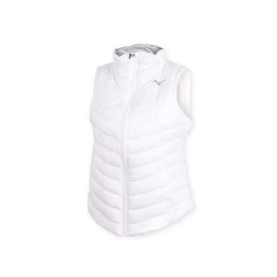 MIZUNO 女防潑水保暖背心-無袖上衣 鋪棉背心 蓄暖 美津濃 白