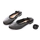 iki2古典優雅真皮舒適平底綁帶鞋-個性黑