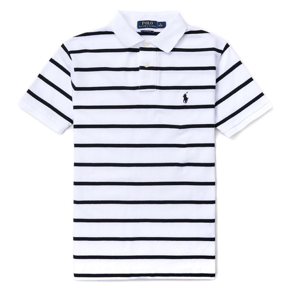 Polo Rlaph Lauren 經典小馬條紋Polo衫(Custom)-白色