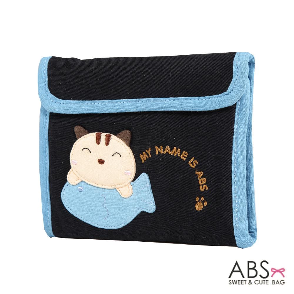 ABS貝斯貓 簡約調性可愛拼布 5卡單鈔票層 折疊短夾(海洋藍)88-026