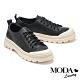 休閒鞋 MODA Luxury 率性玩味全真皮綁帶厚底休閒鞋-黑 product thumbnail 1