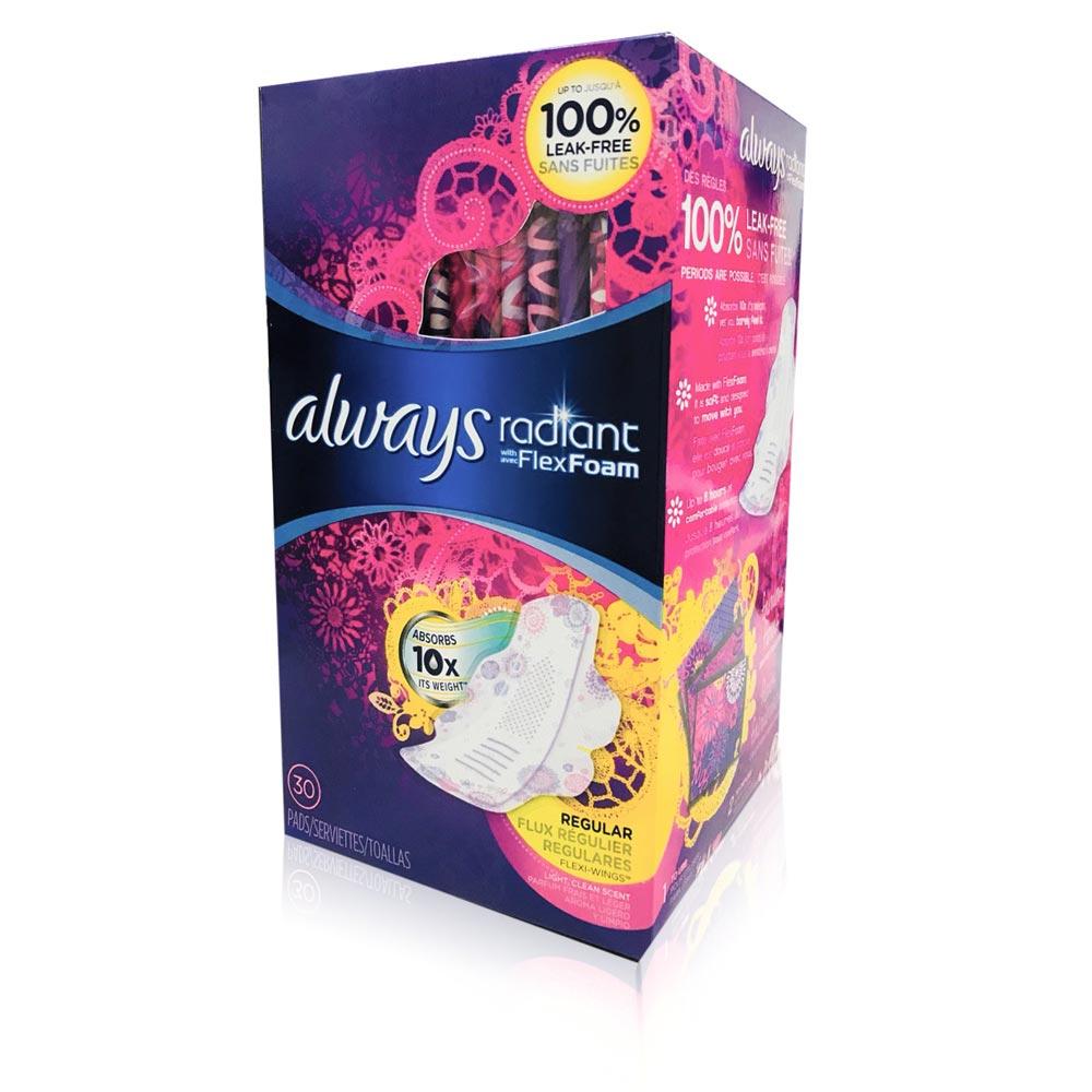Always 液體衛生棉-美國限量版幻彩-一般日用24cm*30片/盒