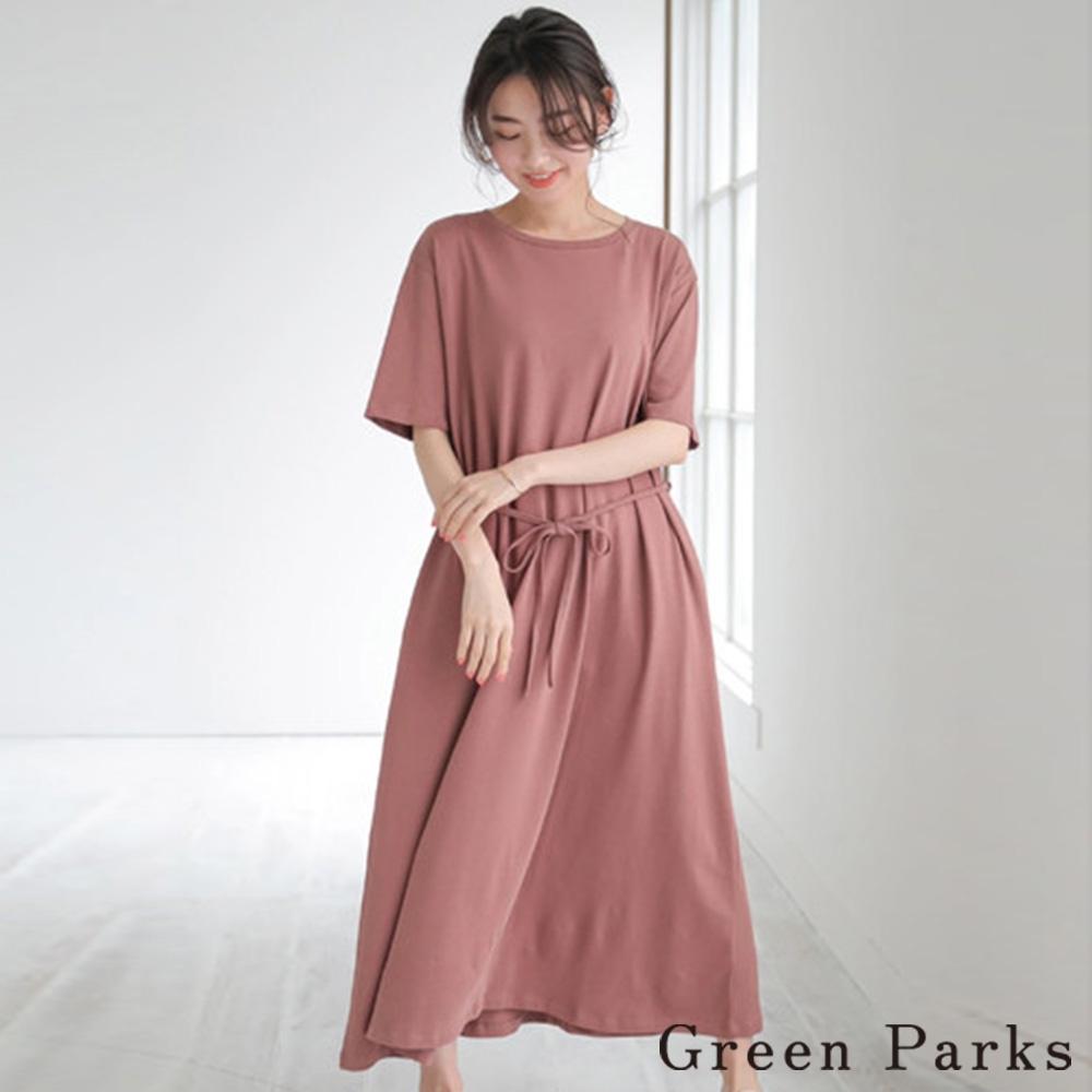 Green Parks 腰際綁帶簡潔連身洋裝