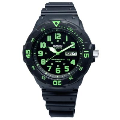 CASIO卡西歐 經典防水指針錶 黑綠色MRW-200H-3B 42mm