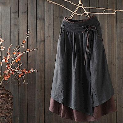 復古寬鬆假兩件棉麻高腰中長裙-Q1287-設計所在