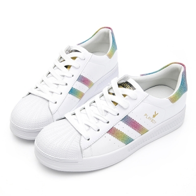 PLAYBOY 經典升級條紋仿皮休閒鞋-白彩-Y63181G