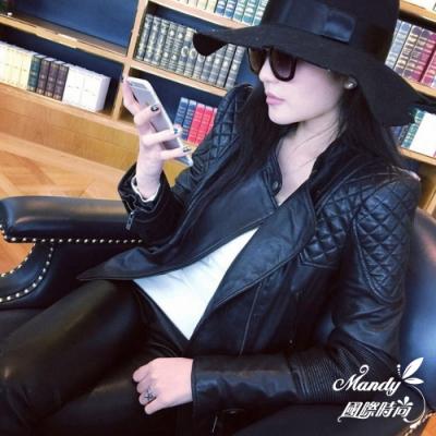 Mandy國際時尚 外套 冬 歐美短款大尺碼PU皮衣夾克(2色)