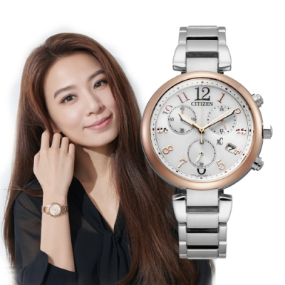 CITIZEN xC光動能輕奢三眼腕錶-銀x玫瑰金(FB1454-52A)35mm